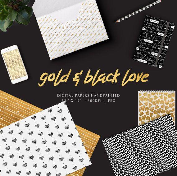 Papel digital de amor negro y dorado purpurina, gold and black love, by PetitePrune