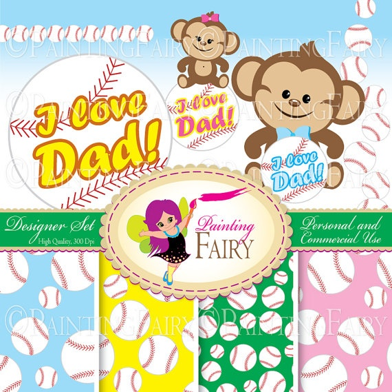 Designer Set Father's day elements Cute Girl Boy Monkeys Clipart Baseball background digital paper pack Personal & Commercial use  by PaintingFairyClipart, $4.00  Everything Else Graphic Design scrapbooking clipart handmade invitations scrapbook papers blue safari animals lovely sport images zoo graphics supply kid greeting clipart i love daddy card making card design printable resource little monkey ball jungle element kit happy dad clipart