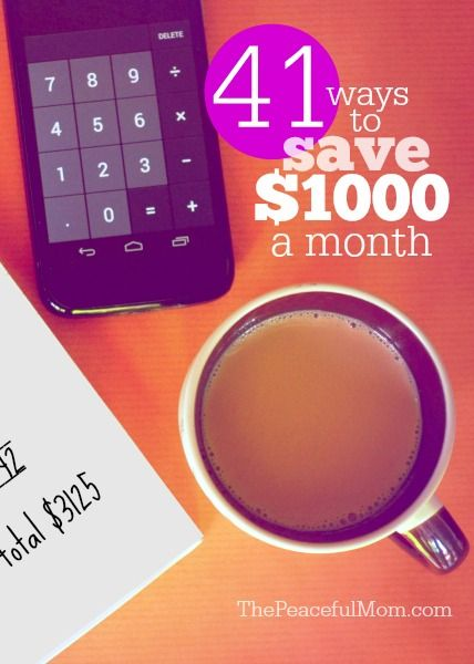 41 small changes you can make that will save you over $1000 a month on your budget -- from ThePeacefulMom.com.: