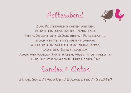 25 best einladung polterabend images on pinterest | wedding, Einladungsentwurf
