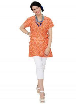 Abi Mid Length Orange Tunic Top  AUD $24.95