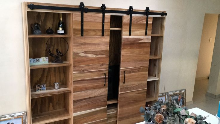Bespoke Sliding Barn Door Style Display Shelf - Eco furniture design
