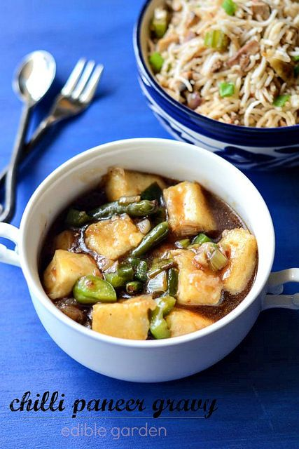 Chilli paneer gravy recipe, a step by step Indian-Chinese recipe to prepare chilli paneer gravy at home. Perfect with fried rice or noodles.