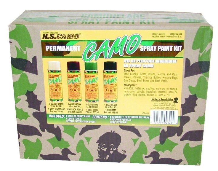 Permanent Camo Spray Paint Kit - Kit includes four 12 oz. net weight. cans of permanent spray paint, leaf stencil and instruction sheet. Colors: marsh grass (tan), mud brown, flat black and olive drab.
