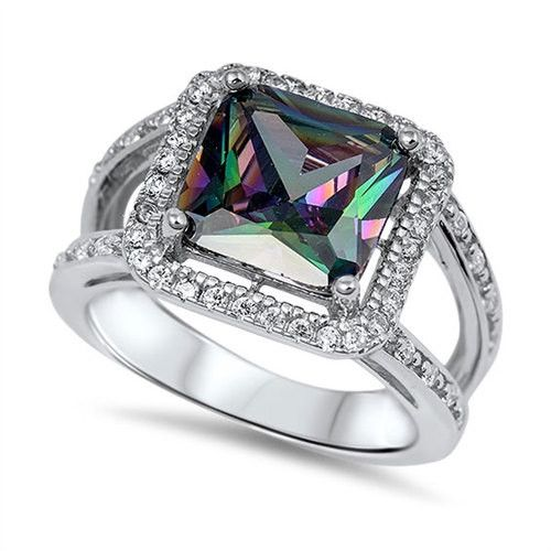 925 Sterling Silver 6.20 Carat Princess Cut Square Mystic Rainbow Topaz Split Shank Halo Wedding Engagement Cocktail Ring