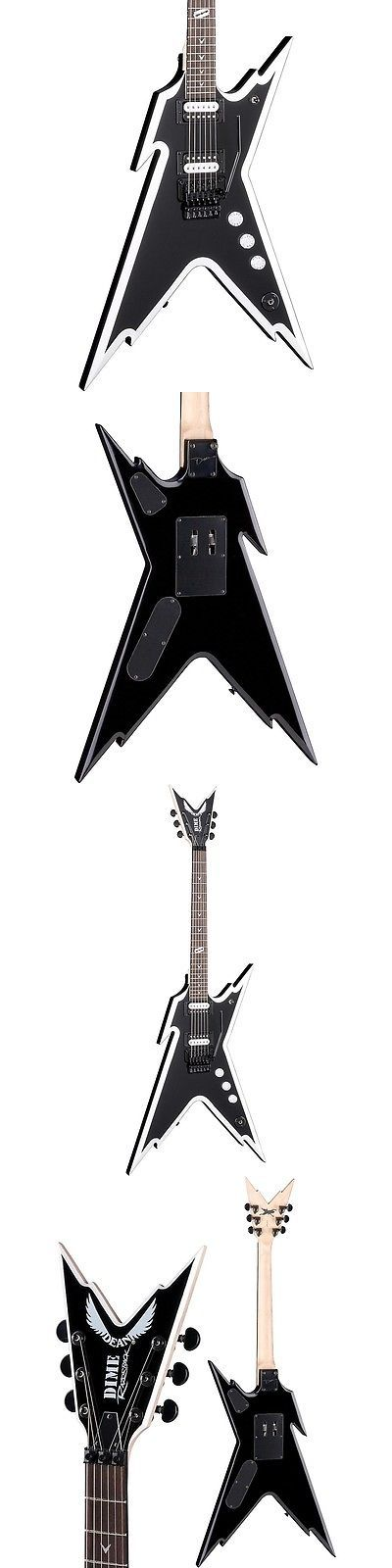 musical instruments: Dean Dimebag Razorback Db Electric Guitar With Floyd Rose Bridge Black And White BUY IT NOW ONLY: $299.0