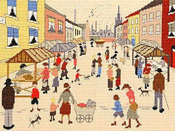 Friday Market - Cross Stitch (L.S. Lowry)  by Bothy Threads.