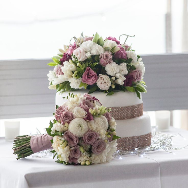 Classic Cake Topper Floral Arrangement and Bouquet by Blooms + Twine Floral Studio