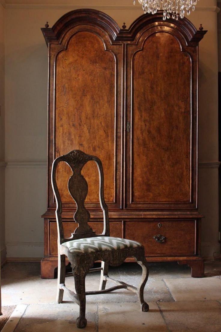 Queen anne chair history - 1930s English Country House Walnut Armoire In The Queen Anne Taste