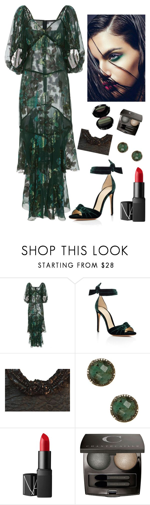 """Spring Green Gown"" by kotnourka ❤ liked on Polyvore featuring Anna Sui, Alexandre Birman, ADORNIA, NARS Cosmetics, Chantecaille and Giorgio Armani"