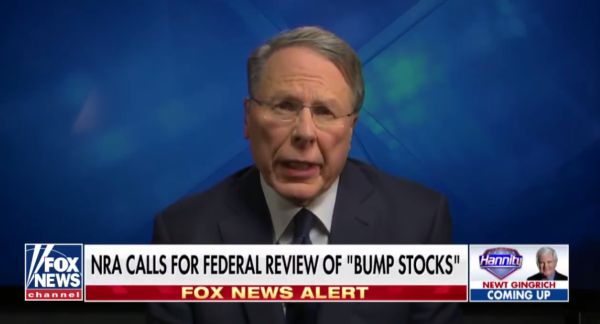 NRA Veep Wayne LaPierre calls for additional regulation of bump fire stocks (courtesy youtube.com)