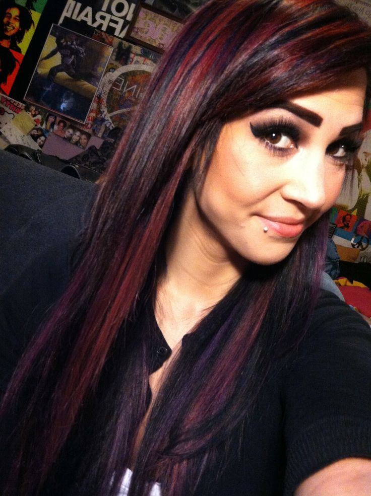 Black red and purple bright hair color