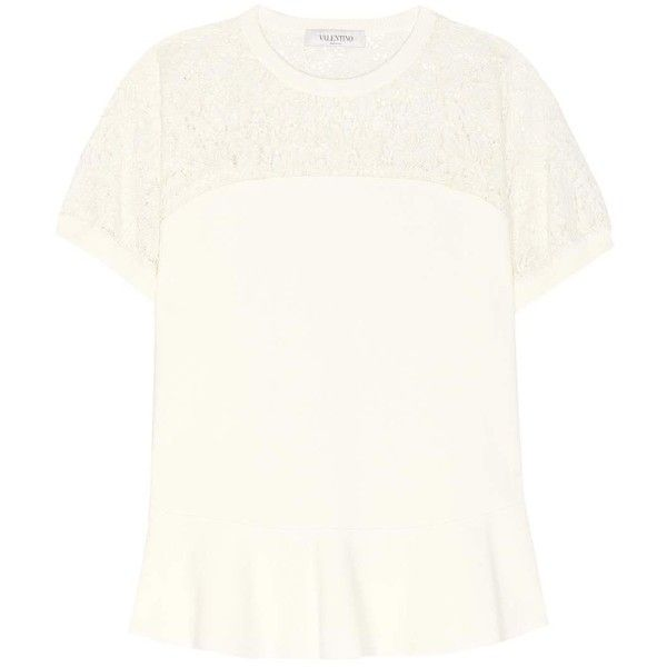 Valentino Embroidered Top (€2.730) ❤ liked on Polyvore featuring tops, short-sleeved, white, short sleeve tops, white short sleeve top, embroidered top, embroidery top and white top