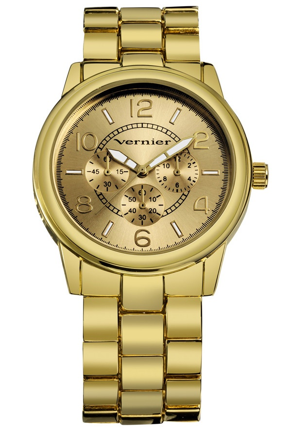 Price:$22.00 #watches Vernier VNR200, Vernier Ladies classic gold tone bracelet watch with a chrono look dial is the perfect piece for any outfit. The boyfriend sized time piece is ready to wear for your casual every day, and is a clean style for evening fun. Features include luminescent hands which show you the time at night, easy to read dial with a Chrono-Look pattern, and Quartz movement.