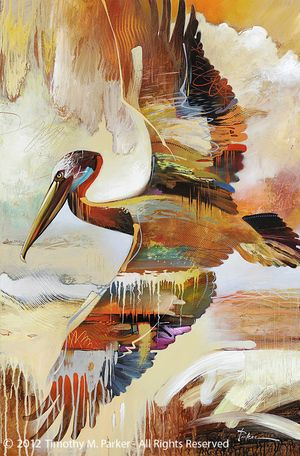 Abstract Pelican Painting - Artist Tim Parker