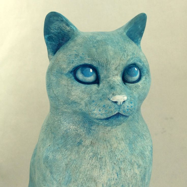 75% OFF Sitting cat statue 15 Blue snow color life