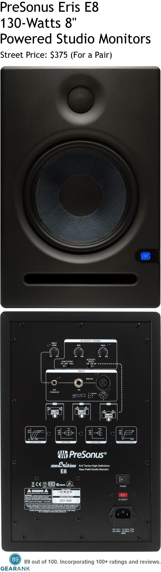 "PreSonus Eris E8 130W 8"" Powered Studio Monitors.  Inputs: 1- Balanced XLR, 1- Balanced ¼"" TRS, 1- Unbalanced RCA.  Frequency Response: 35 Hz - 22 kHz.  Crossover Frequency: 2.2 kHz. LF Amplifier Power: 75W. HF Amplifier Power: 65W.  For a Detailed Guide to Studio Monitors - Under $300 up to $1000 see https://www.gearank.com/guides/best-studio-monitors"