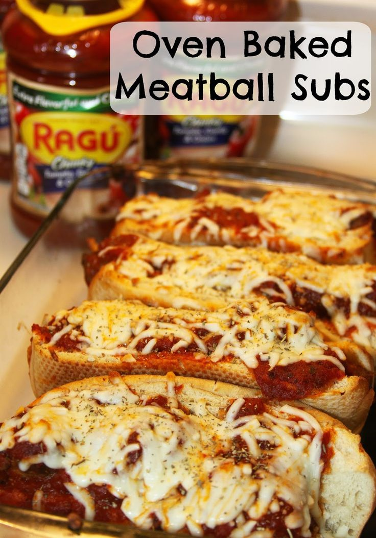 Oven Baked Meatball Subs with Ragu- perfect for feeding a game day crowd!
