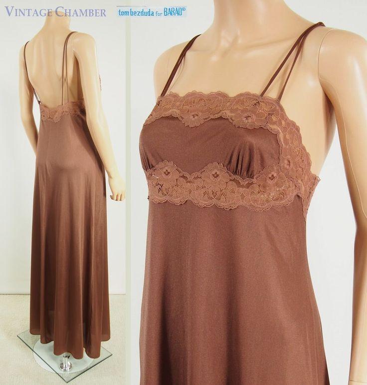 Vtg 70s Backless TOM BEZDUDA-BARAD Mocha Nylon Lace Nightgown Long Gown M #TomBezdudaforBarad