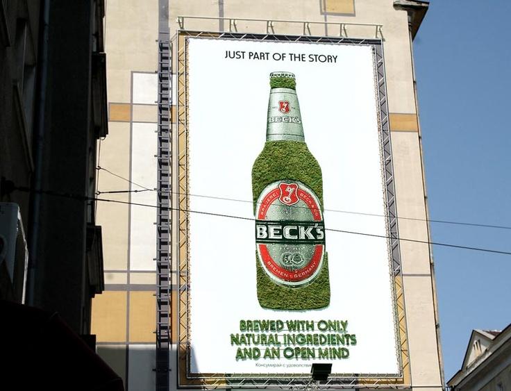Beck's Beer. Moos billboard, GreenGraffiti, green graffiti, sustainable advertising, green marketing, sustainable marketing