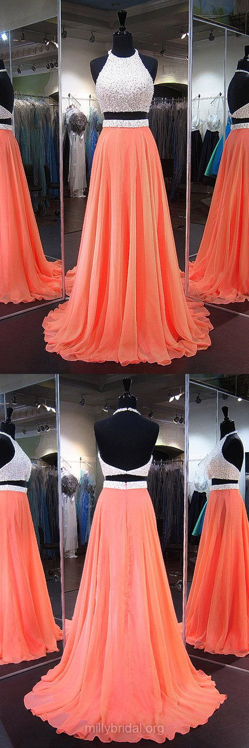 Two Piece Prom Dresses, Long Prom Dresses, Orange Prom Dresses, A-line Prom Dresses Halter, Chiffon Prom Dresses Backless, 2018 Prom Dresses Modest #prom2k18