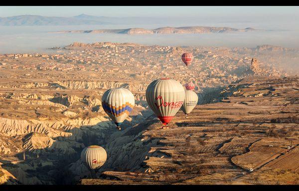 Шарики. фотография, утро, рассвет, горы, Небо, туман, Каппадокия, Турция