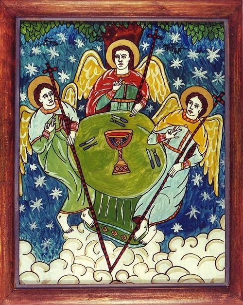 The Holy Trinity-- Romanian folk icon