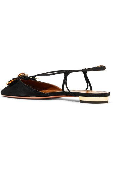 Aquazzura - Samba Raffia-trimmed Suede Point-toe Flats - Black - IT36.5