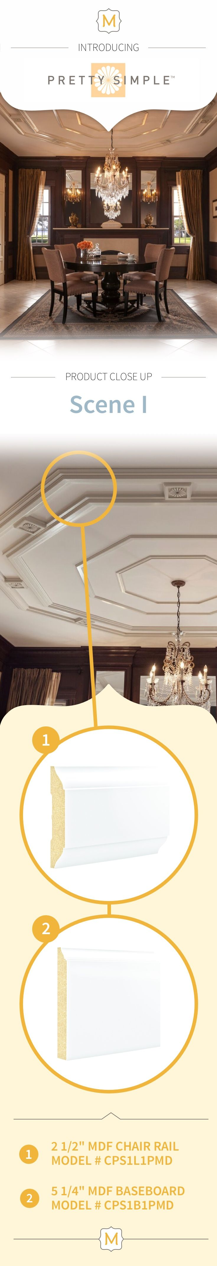 Make your chandelier pop with moulding elements from Metrie's Pretty Simple Collection.