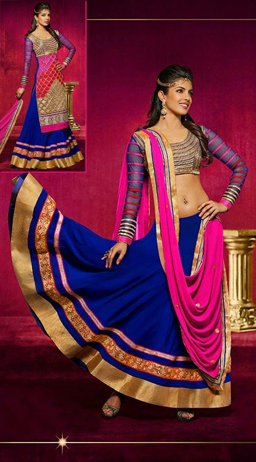 Give in to the pretty look like Priyanka Chopra wearing this Fashionable blue bhagalpuri and georgette lehenga choli which is finished with the fine work of zari, embroidery and lace. It comes with matching dupatta.This unstitched choli can be stitched in the maximum bust size of 42 inches.