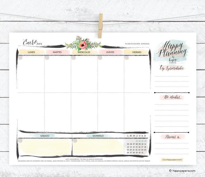 Planificar Semanal Descargable- Happy Planning de enero 2015