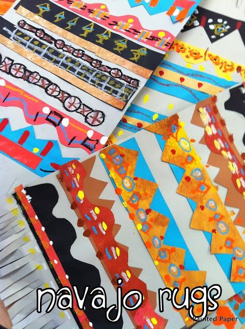 3rd Grade Painted Paper Patterned Navajo Rugs - elementary art project idea