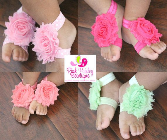 Baby Shoes  Baby Barefoot Sandals  Toddler by Pinkpaisleybowtique