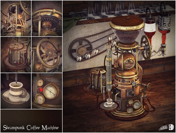 This is a team project made by Consiglio Venditti and Daniele La Mura (me). It's a coffee machine inspired by old espresso machines with steampunk and vintage elements. It also combines some lab and chemistry equipment. The model was made in Autodesk Maya, textured in The Foundry Mari and rendered in Vray for Maya. Final compositing in Adobe Photoshop.