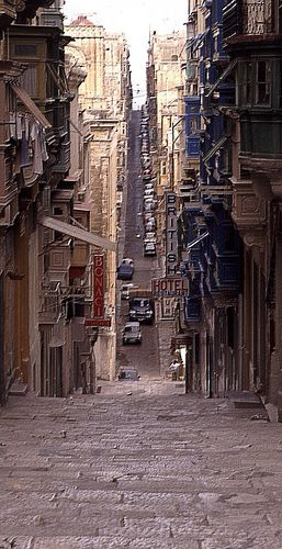 Rollercoaster alleys of La Valletta. It looks like a headache to navigate but it's amazing.