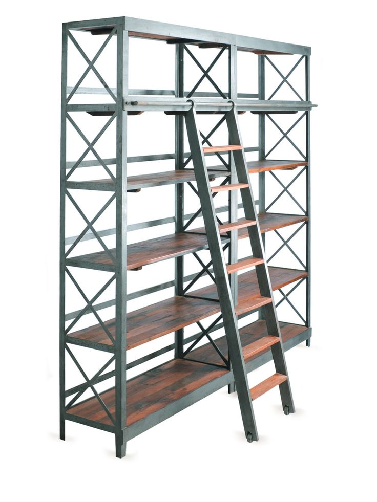 76 best images about Industrial Loft Ideas – Library Bookcase with Ladder