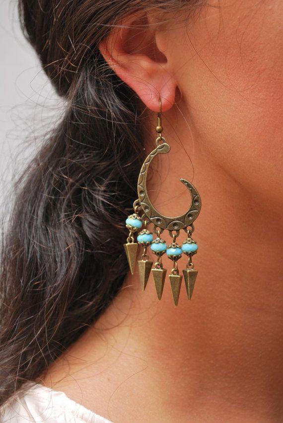 Flamenco earrings, Gypsy Hippie style earrings, light blue beads earrings, Unusual earrings, Festival earrings, Bronze spike earrings