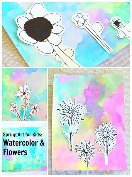 Spring Art Projects: Flowers on Watercolor Background