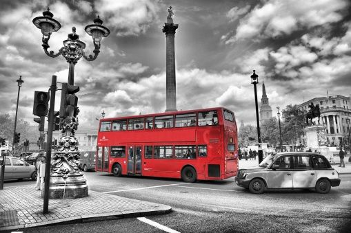 London Bus - Colorsplash - Wall mural, Wallpaper, Photowall, Home decor, Fototapet, Valokuvatapetit