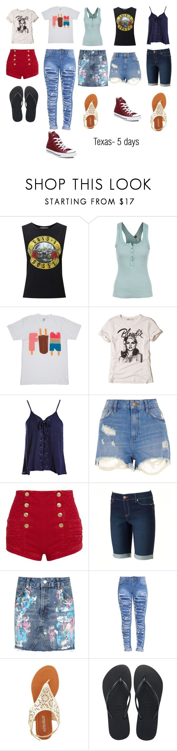 """""""Texas"""" by theweepingangelsgirl ❤ liked on Polyvore featuring Miss Selfridge, Free People, Hollister Co., Sans Souci, River Island, Pierre Balmain, Juicy Couture, Topshop, Olivia Miller and Havaianas"""