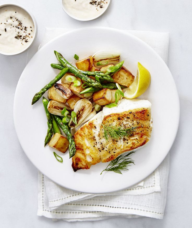 Cod with Asparagus Hash and Horseradish Sauce. This looks so easy and has ingredients I usually have in the kitchen - and that I like to use in fish preparation.
