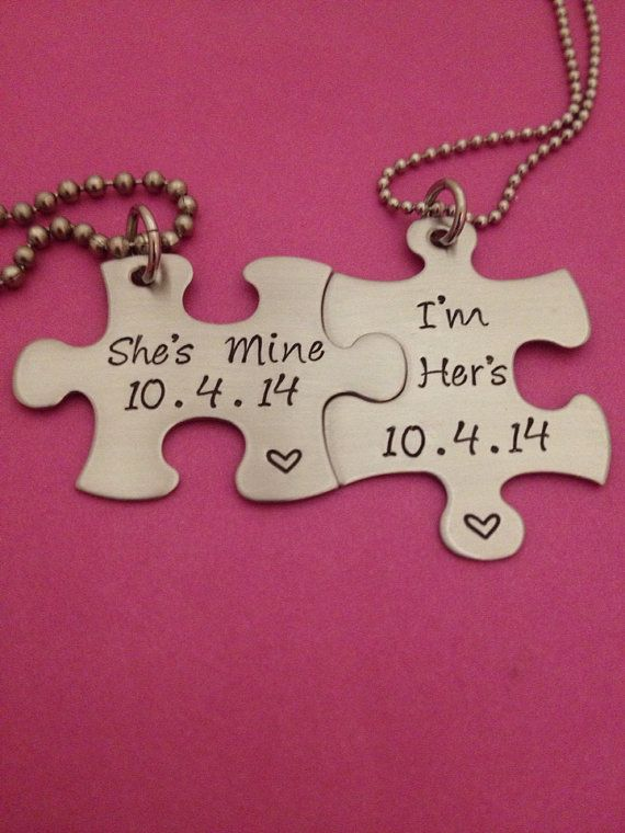 Personalized Puzzle Piece Necklace Duo - Her One/ Her Only - HandStamped Stainless Steel Wedding Anniversary Gift LGBT on Etsy, $24.00