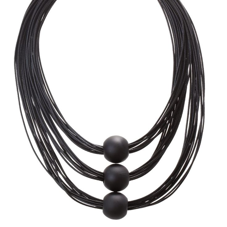 BLACK CORD NECKLACE WITH BALL DETAILS