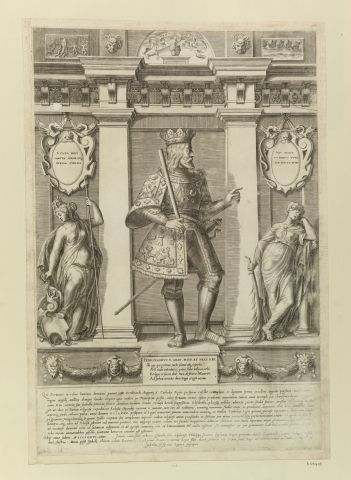 Ferdinand V King of Aragon (1452-1516) Full length within alcove, profile R, bearded, in crown and chased armour, baton on RH; allegorical female figures to L and R. Latin inscription. In the Royal Collection Trust
