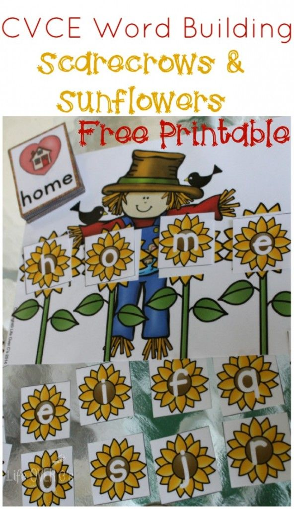 Scarecrow Word Building Printable for Fall Word Work