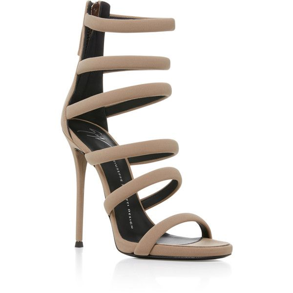 Giuseppe Zanotti     Banded Heel Sandal ($895) ❤ liked on Polyvore featuring shoes, sandals, nude, high heel stilettos, giuseppe zanotti sandals, stiletto sandals, caged heel sandals and sexy sandals