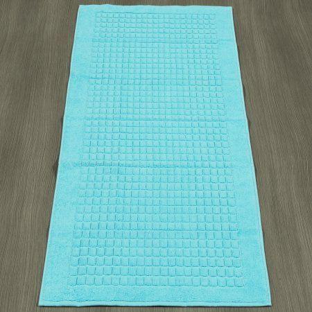 Ottomanson Heavyweight Cotton Towel Bath Tub Mat Runner, 20 inch x 59 inch, Turkish Cotton, Blue