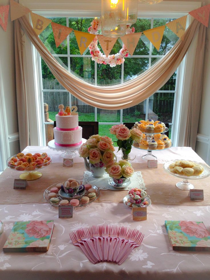 Dessert table birthday banner decorations tea for two for 2nd birthday party decoration