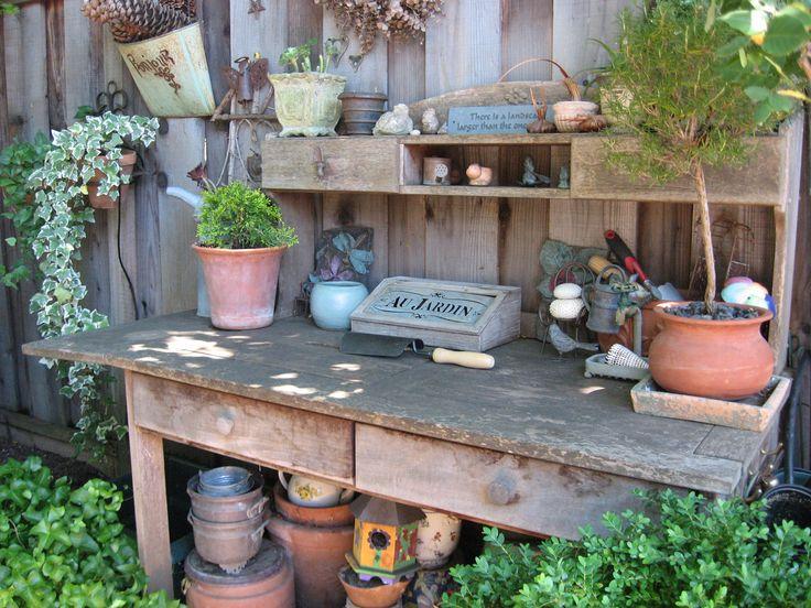 Old Potting Bench Vintage Gardening Pinterest
