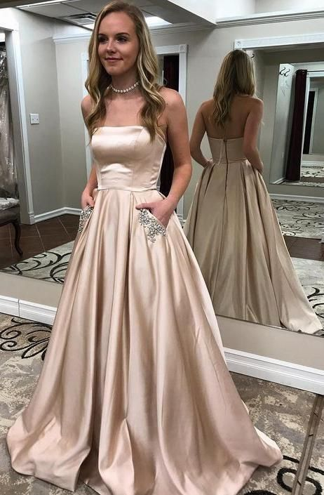 13e7c86878a Charming Light Blue Strapless Floor Length Prom Dress with Beading ...
